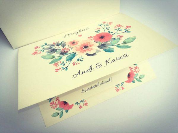 Vintage virágos grafika meghívóra